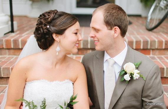 Bridal Wedding Earrings,Pearl Rhinestone Earrings,Bridal Rhinestone Earrings,Ivory or White Pearls,Statement Bridal Earrings,Pearl, AMELIA