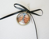 Wedding Photo Boutonniere Charm Pendant in Antique Bronze for the Groom and Groomsmen - Parent Grandparent Memorial