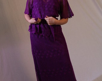 Women's Vintage Crochet Dress Two Piece Top Skirt Set in Deep Purple, S-M