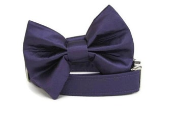Satin Wedding Bow Tie Dog Collar - Eggplant