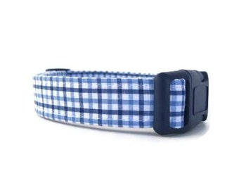 Custom Dog Collar - Blue Gingham