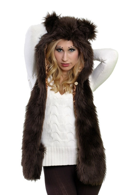 Faux Fur Brown Bear Hat- Full Size