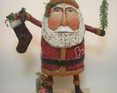 RESERVED Primitive Paper Mache Folk Art Santa with Stocking, Tree and Gifts