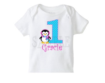 Penguin Birthday Tshirt or Onesie 1st Birthday  TShirt or Bodysuit Girls or Boys