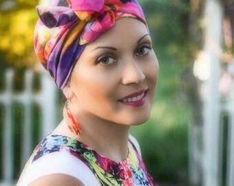Turban, Chemo Hat, Head Wrap, Alopecia Scarf, Hat & Scarf Set, Purple Pink Yellow Black Floral 104-04