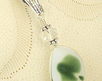 Eco Friendly GENUINE Santa Cruz  Sea Glass Necklace Shades Of Green