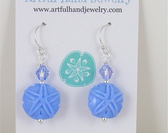 Cape Cod Sand Dollar Earring Periwinkle Blue with Swarovski Crystal
