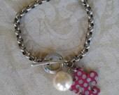 Upcycled Fleur de Lis Polka Dot Charmed Vintage PINK CHARM