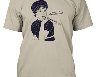 Jane Austen Sense and Sensational Mens/Unisex T-Shirt in Sand Color