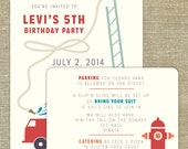 Firetruck Birthday Party Invitation- set of 30 invitations and 30 info cards, envelopes included