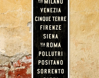 SMALL Italy Poster, Bus Scroll, Italian Décor, Subway Sign, Italy Art, Tram Roll, Canvas Typographic Print, Rustic Wall Art. 12 x 36
