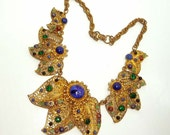 Reserved for JayTic - Filigree & Rhinestone Floral Necklace - Vintage 1930's Bliss Brothers Art Nouveau