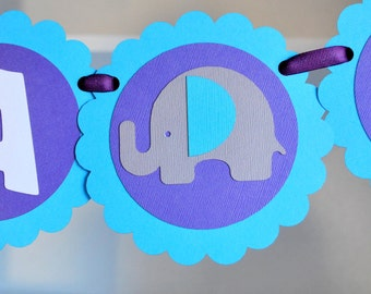 Elephant Banner, Baby Shower Banner, Elephant Birthday or baby shower party banner - Elephant Handmade Banner,  A556