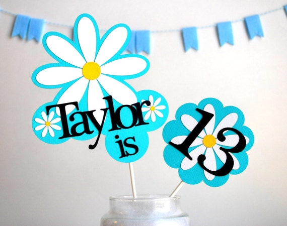Daisy Party Centerpiece, Girl Birthday party name and age Personalized Sign black and Turquoise party A513