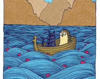 Owl and Pussycat Sailing through the sea Art Print Valentines Nursery blue and brown