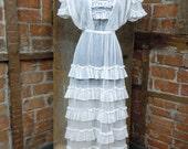 ON HOLD *Edwardian Tea Dress / Antique Victorian Dress/ Layered Ruffles / Turn of the century Garden Dress 826