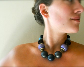 Vintage boho tribal statement necklace - chunky modern purple
