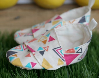 Last Pairs - Baby Girl Shoes, Toddler Girl Shoes, Baby Booties, Modern Baby Geometric Multi-Color Triangle Loafers, Soft Sole Baby Booties