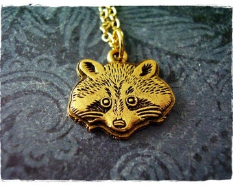 Gold Raccoon Face Necklace - Antique Gold Pewter Raccoon Face Charm on a Delicate Gold Plated Cable Chain or Charm Only
