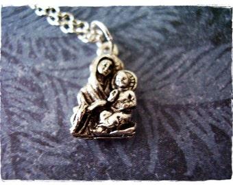 Silver Madonna and Child Necklace - Silver Pewter Madonna and Child Charm on a Delicate Silver Plated Cable Chain or Charm Only