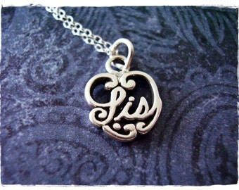 Tiny Sis Heart Necklace - Sterling Silver Sis Heart Charm on a Delicate Sterling Silver Cable Chain or Charm Only