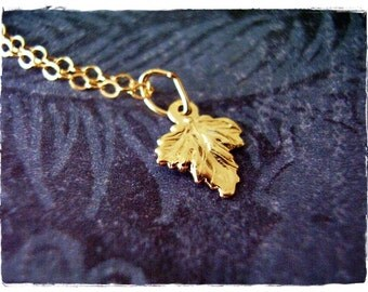 Tiny Gold Oak Leaf Necklace - Gold Filled Oak Leaf Charm on a Delicate 14kt Gold Filled Cable Chain or Charm Only
