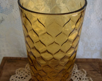 Vintage 1970s Anchor Hocking Amber Glass Tumbler/Vase Honeycomb Pattern/Rounded Diamond 6 1/4in 16oz.Size