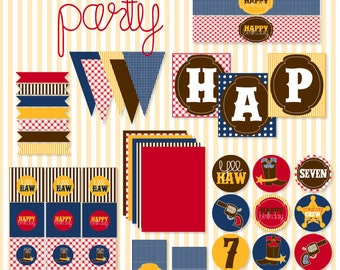 Gingham Cowboy Party PRINTABLE Full Collection by Love The Day