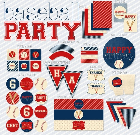 Vintage Baseball Party PRINTABLE Birthday Full Party by Love The Day