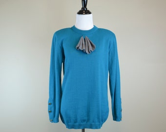 80s Teal Sweater / 1980s Turquoise Sweater / 90s Long Sleeve Pullover Sweater / 1990s Gray Bow Franco Moretti S
