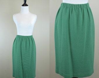80s Green Skirt / 1980s High Waist Pencil Skirt / Ribbed Skirt / High Waist Skirt / Donna Morgan M