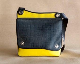 Truck tarp messenger bag, Yellow and black bag  - the Ola