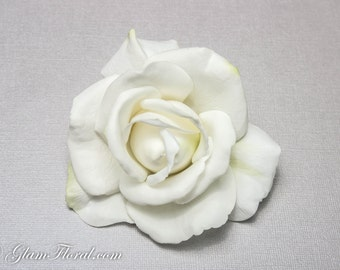 Natural White Real Touch Rose Hair Fascinator / Brooch - Cream/ White . Destination Wedding.  yellow orange red green pink white