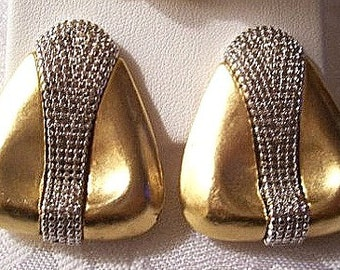 Erwin Pearl Satin Triangle Clip On Earrings Gold Tone Vintage Extra Large Layered Wide Nail Head Accent Center Band