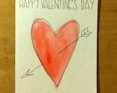 Valentine's Day Arrow and Heart Handmade Card