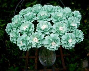 Table Decor - The Oriental Poppy  -  Handmade Paper Flower - Mint Green and Cream - Set of 20 - Stems Included