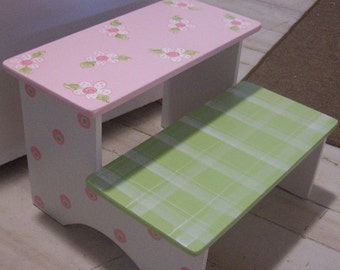 Kids and Baby Steps Stools Benches Custom Wooden Step Stool Pink  Nursery  Step stool BENCH Baby Bedding Match PINK GREEN