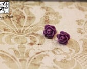 Rose Flower Stud Earrings Purple Cabochon