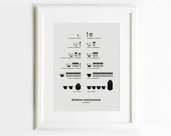 Kitchen Conversion Chart Art Poster - Kitchen Art - Kitchen Posters - Light Gray 13x19