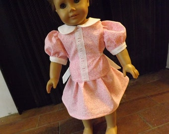 Pink & White 1940's Spring or Easter Dress for 18 inch dolls