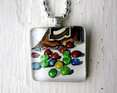 M&Ms Pendant, Candy Necklace M and M Candy Art Tile Necklace