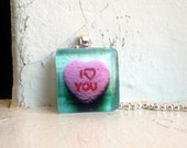 Valentines Candy Heart Necklace - Pink Candy Heart - I Love You - Glass Tile Pendant Necklace - Wearable Art