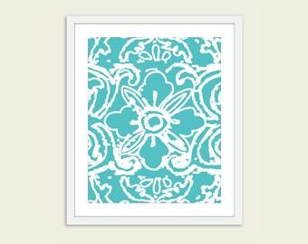 Modern Abstract Flower Art Print -  Flower Wall Art - Turquoise Aqua Blue - Tibetan Flower