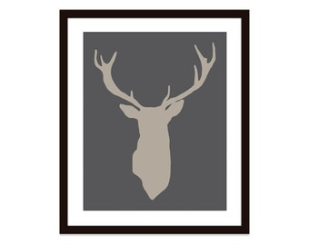 Deer Antlers Stag Digital Print Modern Home Decor Woodland Creature - Charcoal Dark Grey and Brown - Bold - Dudes - Affordable Wall Art