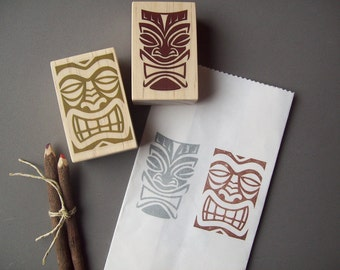 Hawaiian Tiki Stamps Set of 2 , Polynesian , Tribal , Luau Wedding