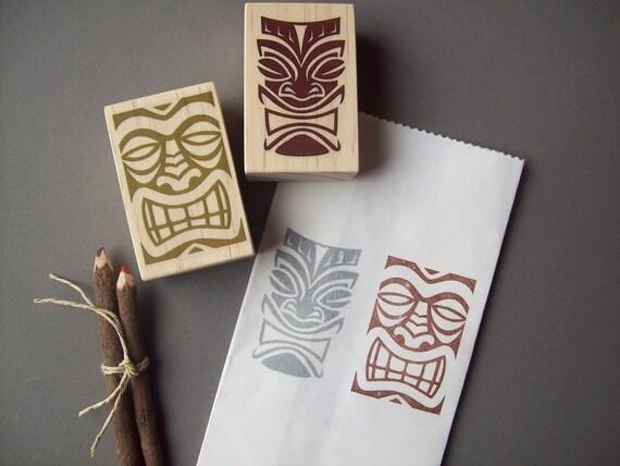 Hawaiian Tikis Rubber Stamps Set of 2 , Polynesian , Tribal , Luau Wedding