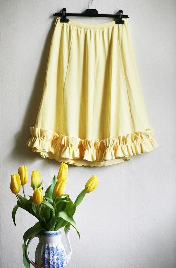 Sunshine - Pale Lemon Ruffle Skirt