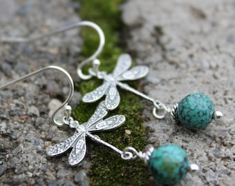 Turquoise Dragonfly Earrings in Sterling Silver