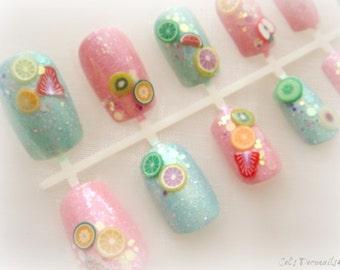 Sweet pastel fruit nails, Japanese nail art set, kawaii 3d nails