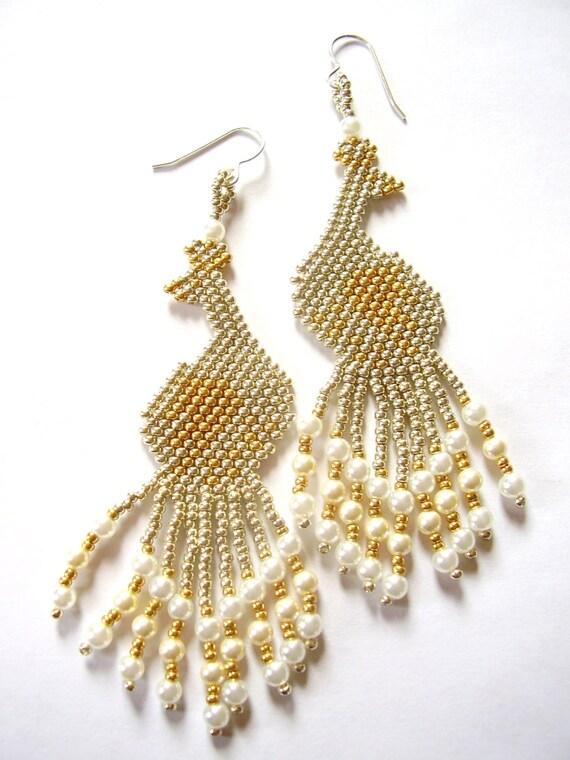 Peacock earrings, very long earrings, dangle earrings, gold and silver earrings, chandelier earrings, statement earrings, gift for her